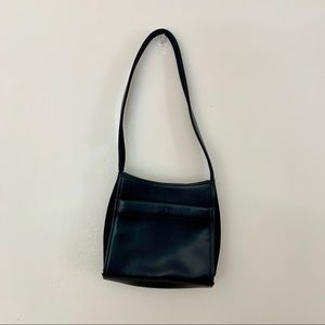 Nine West Small Blac Leather Shoulder Clut…